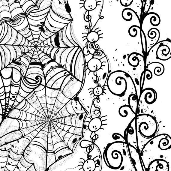 Halloween Clipart Spider Web Border Stamps Hand Drawn Digital Clip Art Spiders Pumpkins Skulls Png Halloween Borders Clip Art Borders Spider Web Drawing