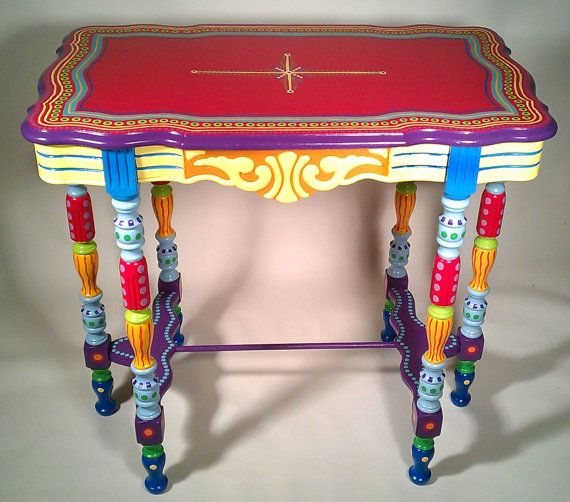 Good Hand Painted Furniture Side Table Or Accent Table By LisaFrick, $425.00