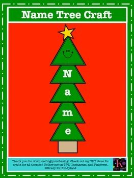 Name Tree Craft For Kindergarten Christmas By Krazy For Kindyland Teachers Pay Teachers Christmas Kindergarten Kindergarten Crafts Preschool Christmas