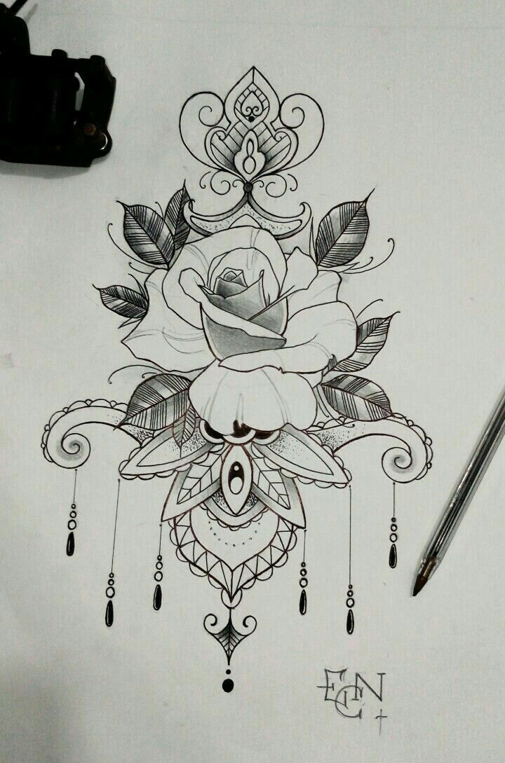 Idea del tatuaggio Mandala Floral Flowers Rose Tattoo Drawing Floral Drawing Ti - Suggerimenti Per il Tatuaggio