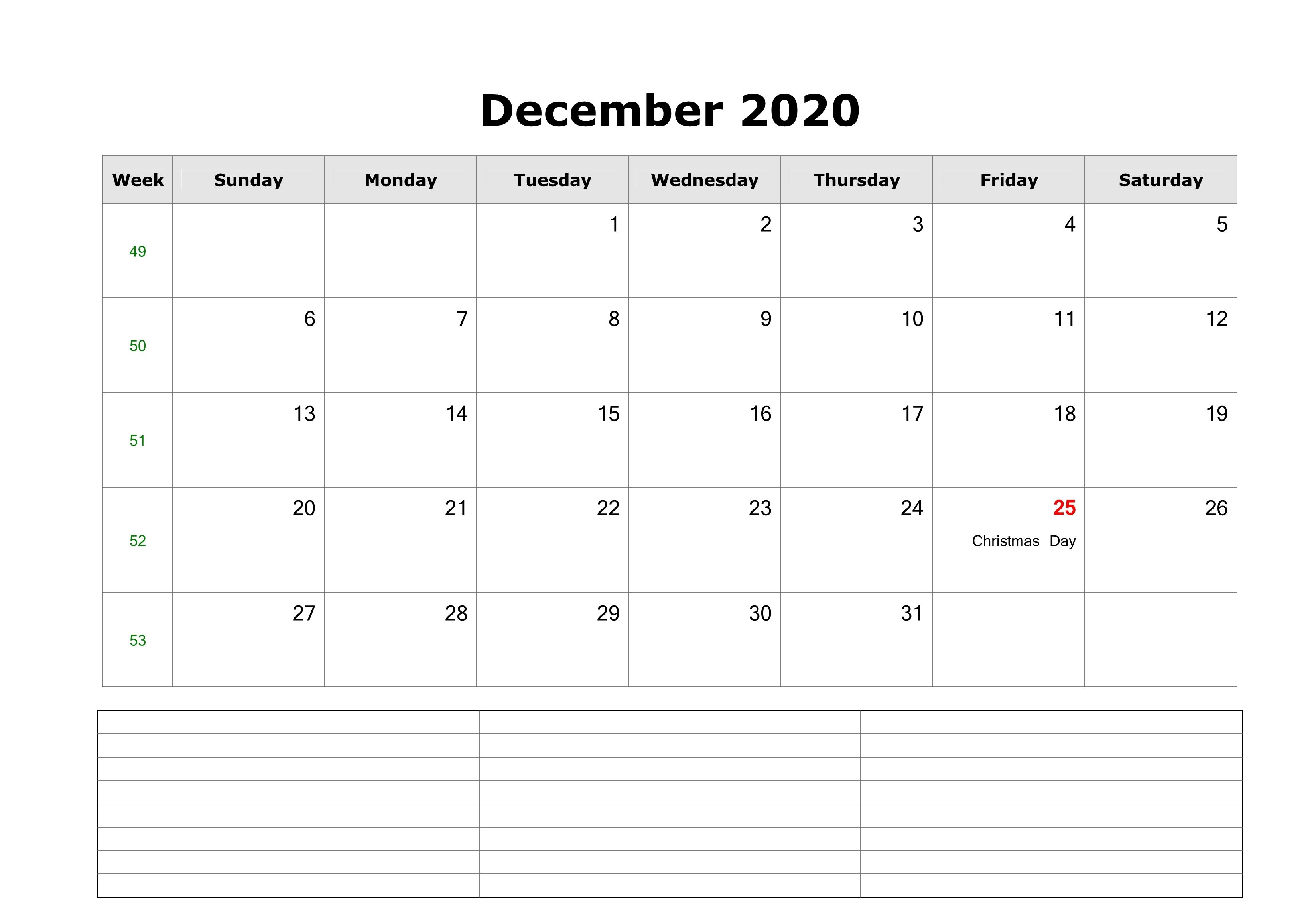 December Calendar Word Excel Template