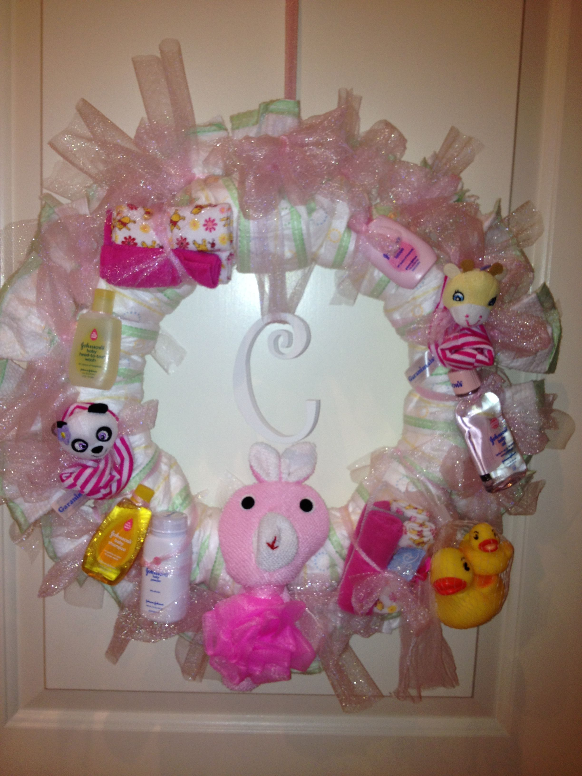 Diaper And Tulle Baby Shower Wreath I Made