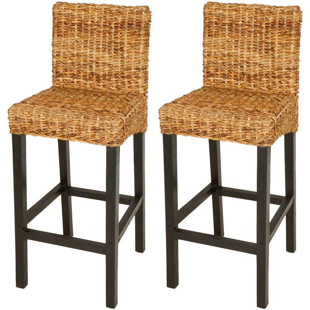 Vidaxl 2 Pcs Rattan Abaca Bar Stools High Chairs Solid Mango Wood Dark Brown 8718475957607 Ebay Rattan Bar Stools Kitchen Bar Stools Bar Stool Chairs