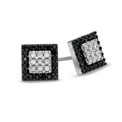 T W Enhanced Black And White Diamond Square Frame Earrings In 10k Gold Zales