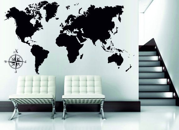 Wall Decal World Map Compass Playroom Classroom Wall By Dewaro - World map for playroom