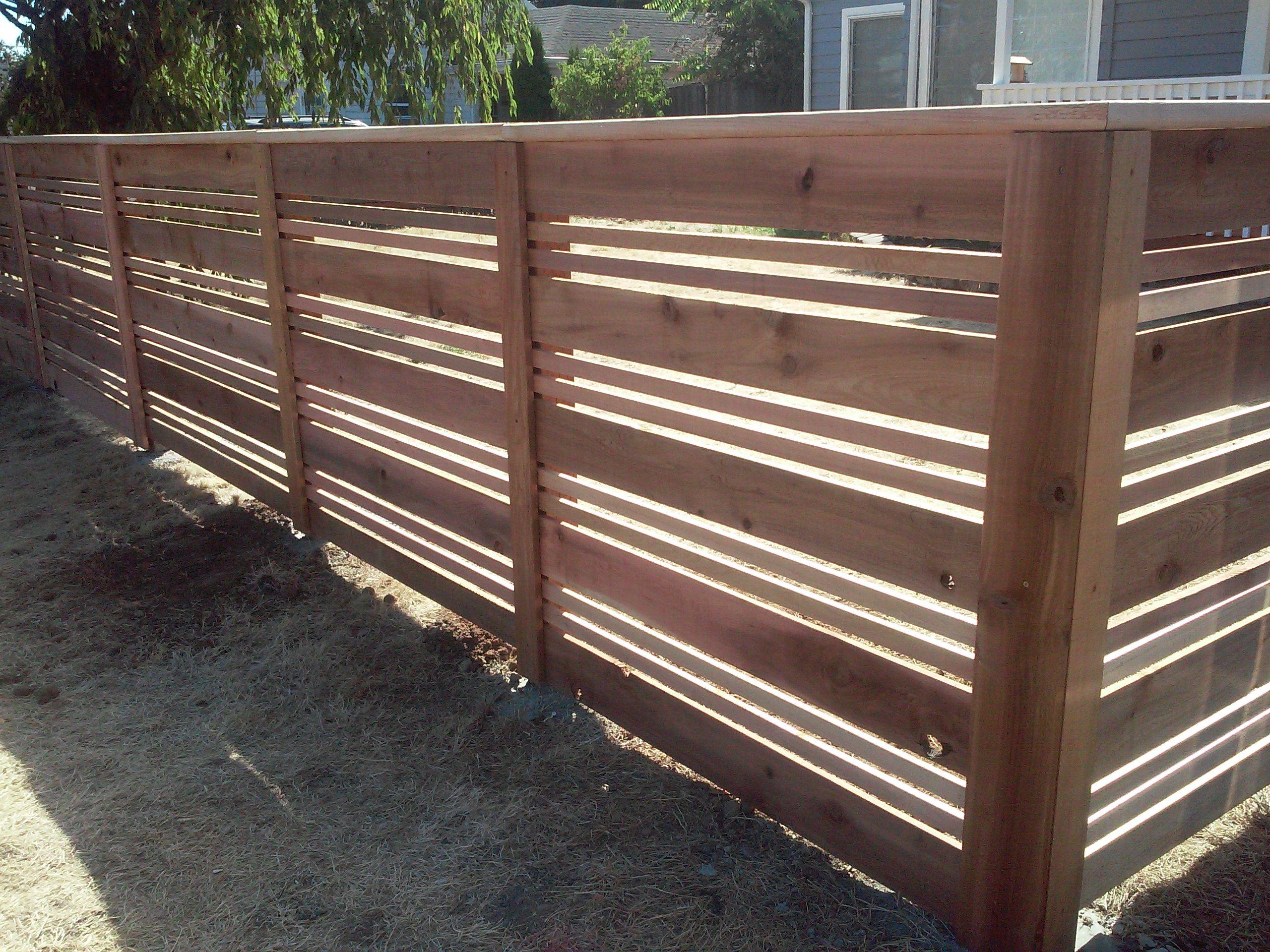 Four Foot Tall Horizontal Cedar Fencing Modern Horizontal Style Fence By Cedar Fences Llc Portland Oregon Modern Front Yard Yard Privacy Modern Fence