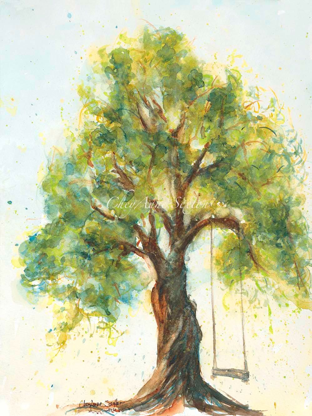 Tree With Swing Watercolour Giclee Print Fine Art Big Twisted
