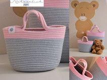 Kindertasche Baumwolle hellgrau rosa DUO 17