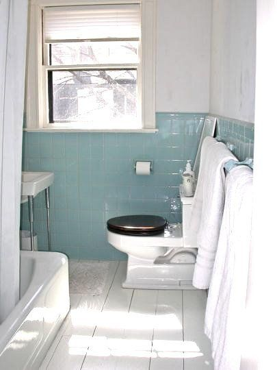 We Love The Look Of Wood Floors In A Bathroom Inherited Floor Ours It Was About Only Thing Loved Tiny Long And Narrow
