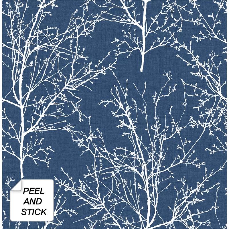 Beattie Tree Branches 18 L X 20 5 W Peel And Stick Wallpaper Roll In 2020 Blue Tree Peel And Stick Wallpaper Coastal Blue