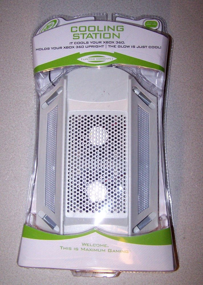 Xbox 360 Cooling Station Vertical Stand 2 Fans Lights Up Intec