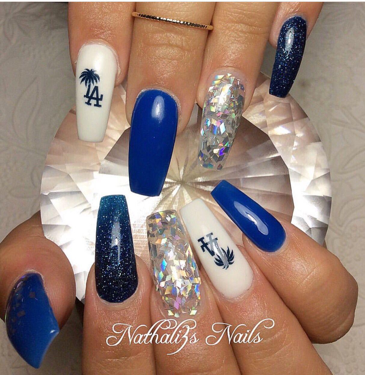 Acrylic Nail Game: Dodgers Nails