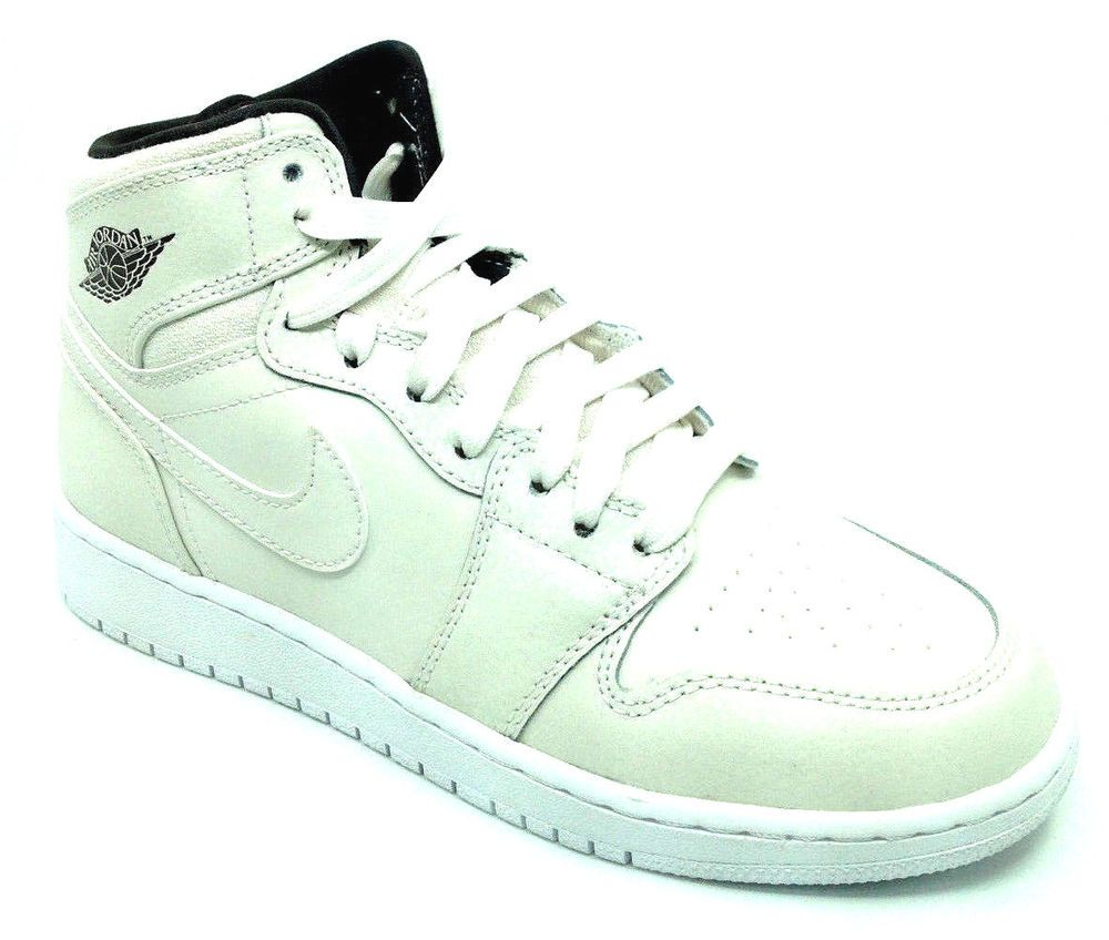 f152586fe77 eBay  Sponsored Jordan Retro 1 High Premium Boys Sneaker All White  705296-022