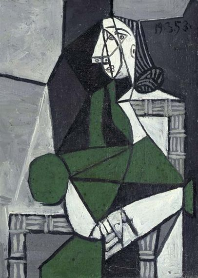 Picasso robe verte peinture Pablo assise Femme espagnole wnX6E