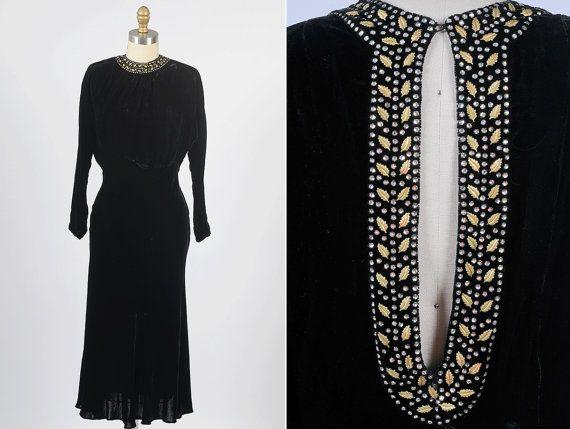 1930s dress/ 30s velvet dress with open back by shopKLAD on Etsy