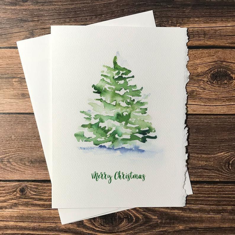 Watercolor Christmas Tree - Set of 10 Christmas Ca