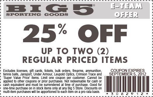 photograph about Big 5 Coupon Printable named Massive 5 Putting on Items 25% off up in the direction of 2 every month priced