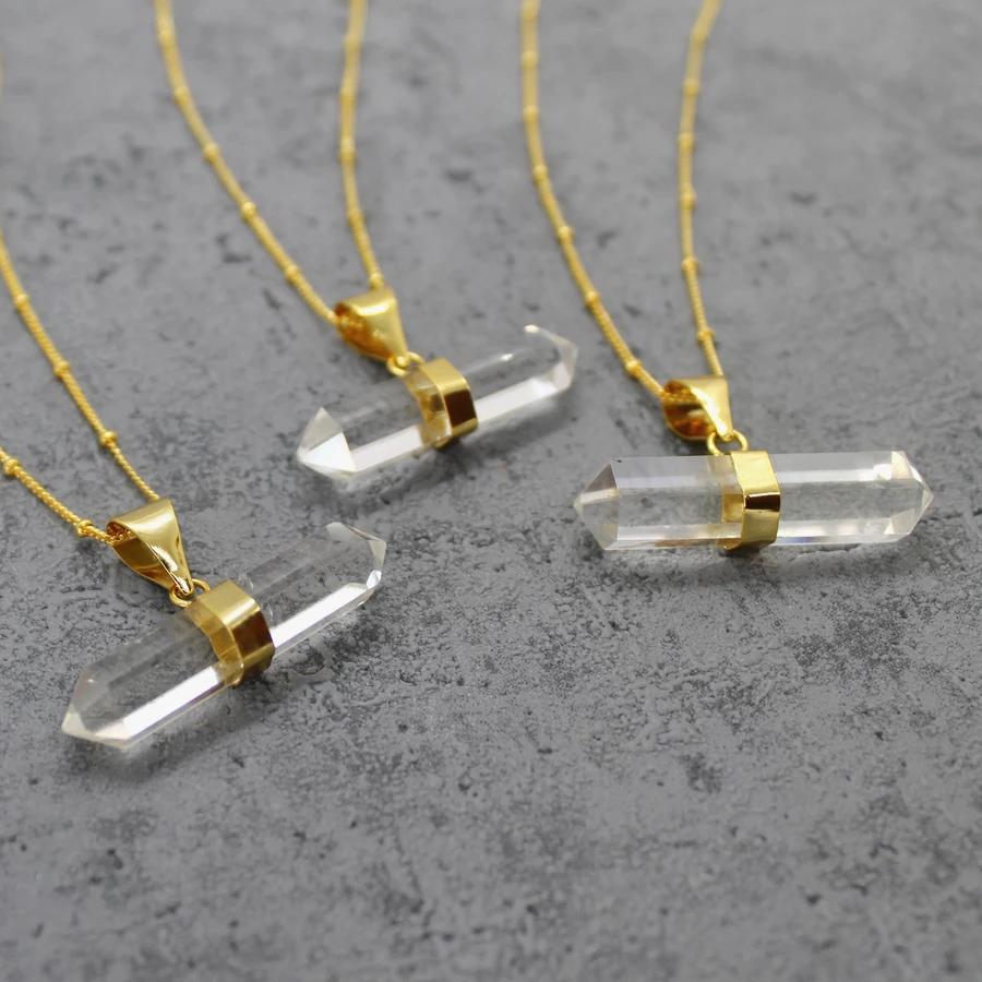 Quartz t bar necklace - Mara Studio #quartznecklace