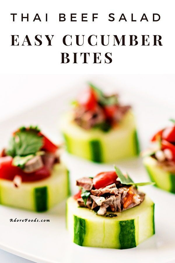 Thai beef salad cucumber bites appetizers Easy cucumber bites with Thai Beef Salad make the perfect healthy appetizer. Keto friendly