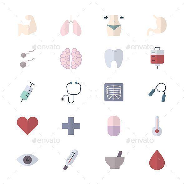 Fitness Icons und Gesundheit Icons Set von medizinischen Icons Stil flache Icons... Fitness Icons un...