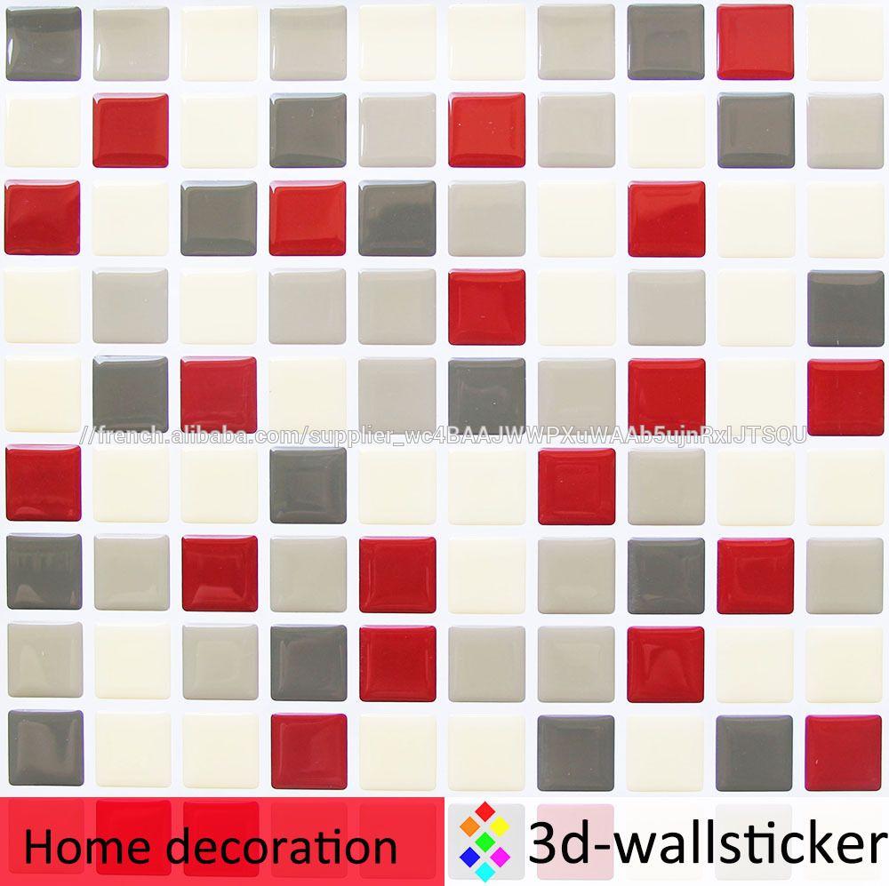 Auto adh sif dosseret faux c ramique mosa que carreaux de - Mosaique adhesive pour salle de bain ...