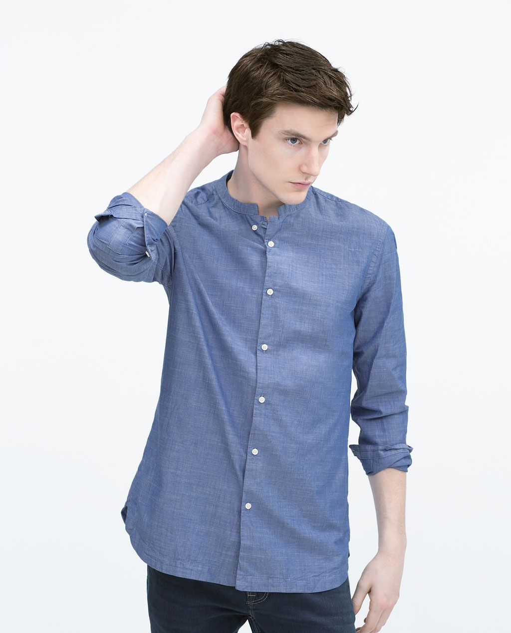 fd1e6641 Image 1 of SLUB SHIRT WITH STAND COLLAR from Zara | // M-E-N ...