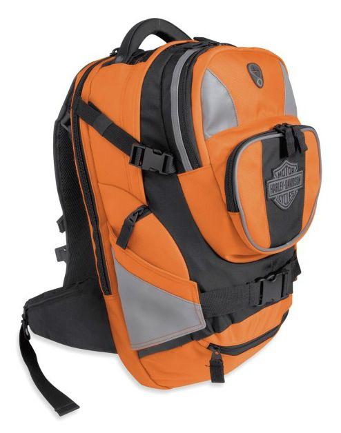 harley davidson mens hi vis safety orange nylon backpack. Black Bedroom Furniture Sets. Home Design Ideas