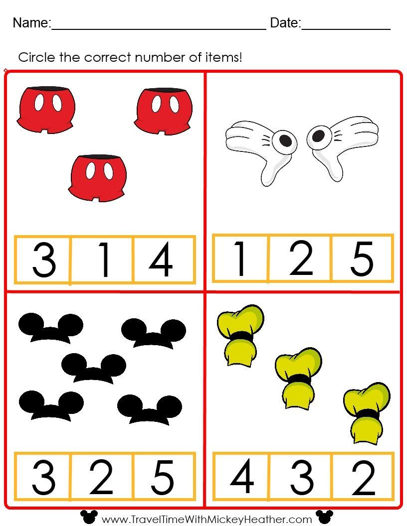 Disney Counting Worksheet!   Math activities preschool [ 1056 x 816 Pixel ]