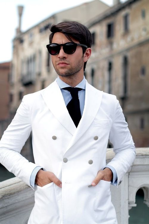 White Double Breasted Blazer With Front Pockets Mens