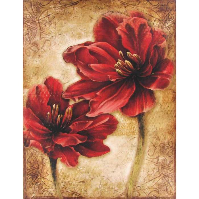 apartment ideas red distressed floral canvas
