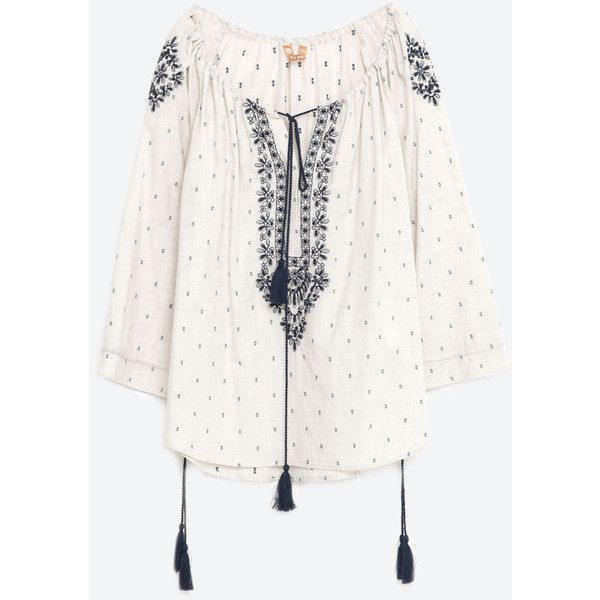 4d44717cd272b Zara Embroidered Plumetis Blouse ( 40) ❤ liked on Polyvore featuring tops