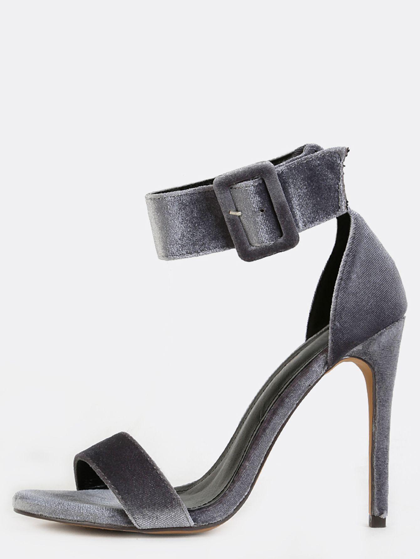 b5dd829ce0f Single Sole Velvet Stiletto Heels GREY