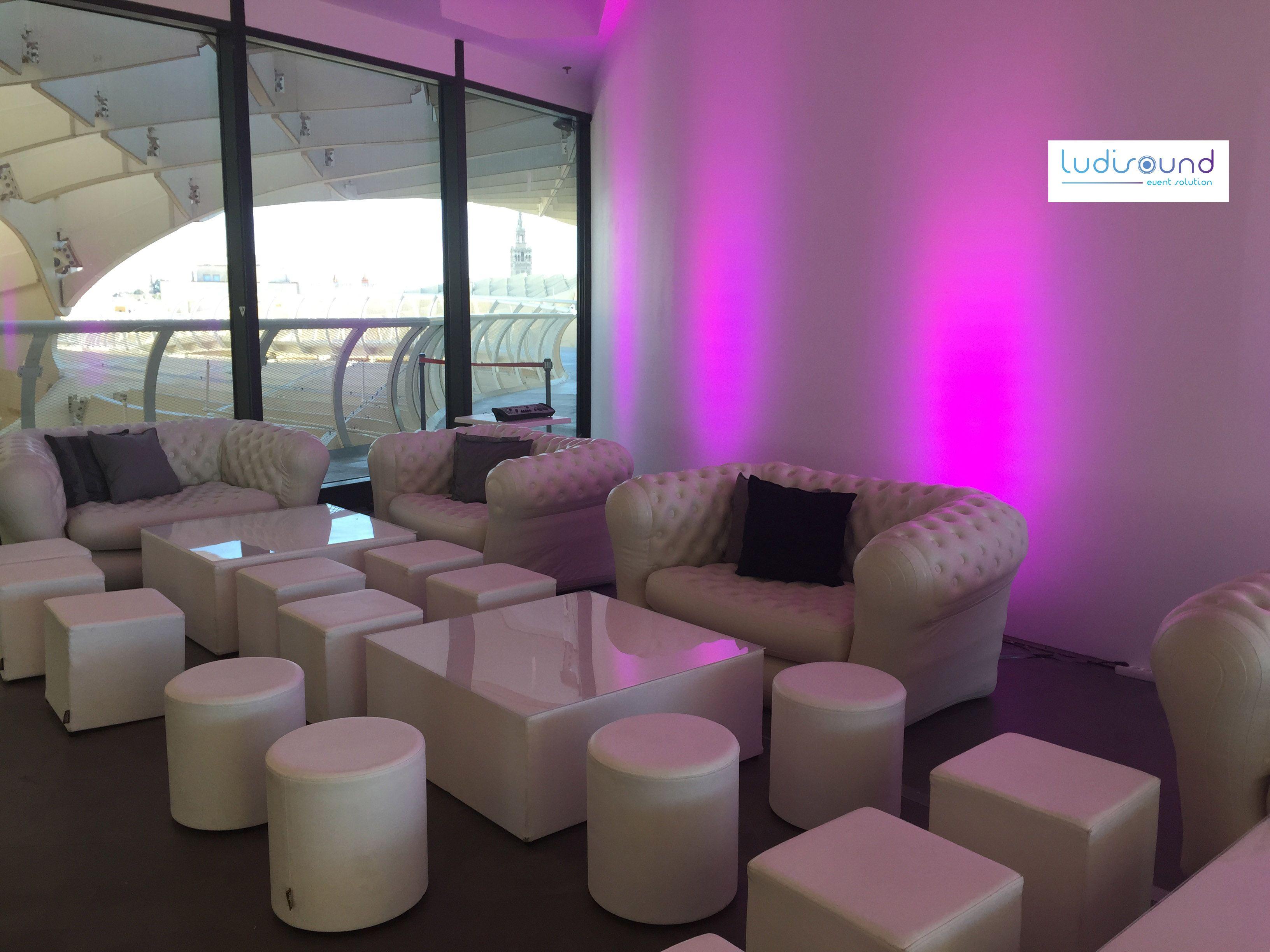 Mobiliario para bodas y eventos. Alquiler. Zona Chill Out en las ...