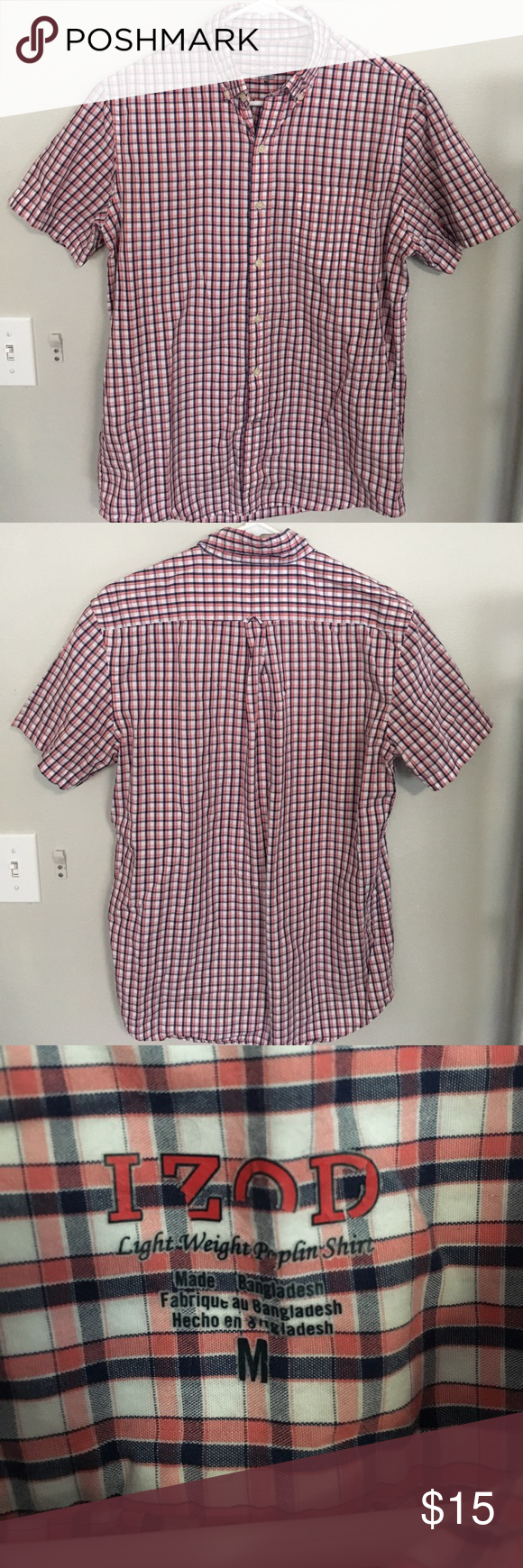 Red White Short Sleeve IZOD Button Down Red White Short Sleeve IZOD Button Down. M but can fit a L. Worn a couple of times but no flaws except for the print on the neck but is BARELY NOTICEABLE. WILL WASH BEFORE SHIPPING! WILL NEGOTIATE! Izod Shirts Casual Button Down Shirts