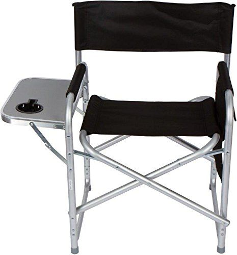 Folding Directors Chair With Aluminum Side Table Storage Bag And Steel Tubing By Trademark Innovations