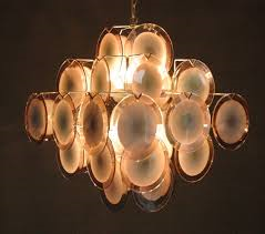 Lampadario a dischi in vetro Murano, Venini, design