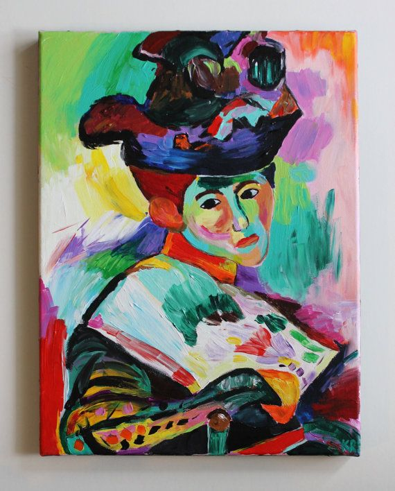 Handmade acrylic painting copy of Henri Matisses Woman with a Hat on a 12x16 canvas with black painted edges. Canvas is ready to be hung or framed