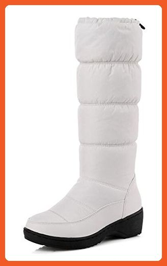 Women's Waterproof Solid Round Toe Elastic Faux Fur Lined Mid Wedge Mid Calf Platform Boots