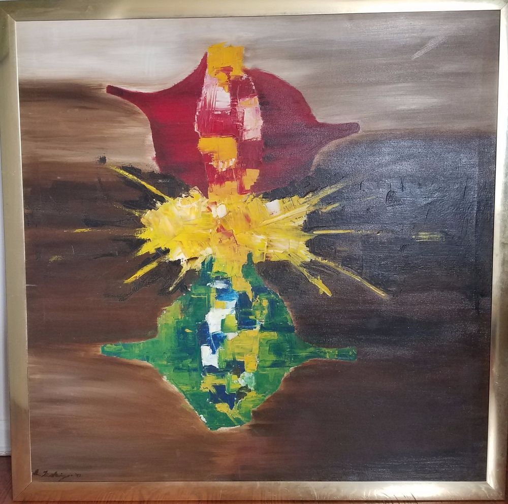 Vintage Abstract Oil Painting Mid Century Signed date 1972 large painting #Abstract
