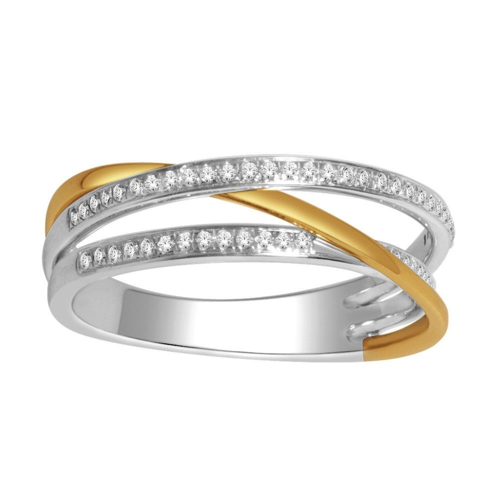 Criss Cross Ring Two Tone 10K and Yellow Gold 0.15cttww 5mm Wide