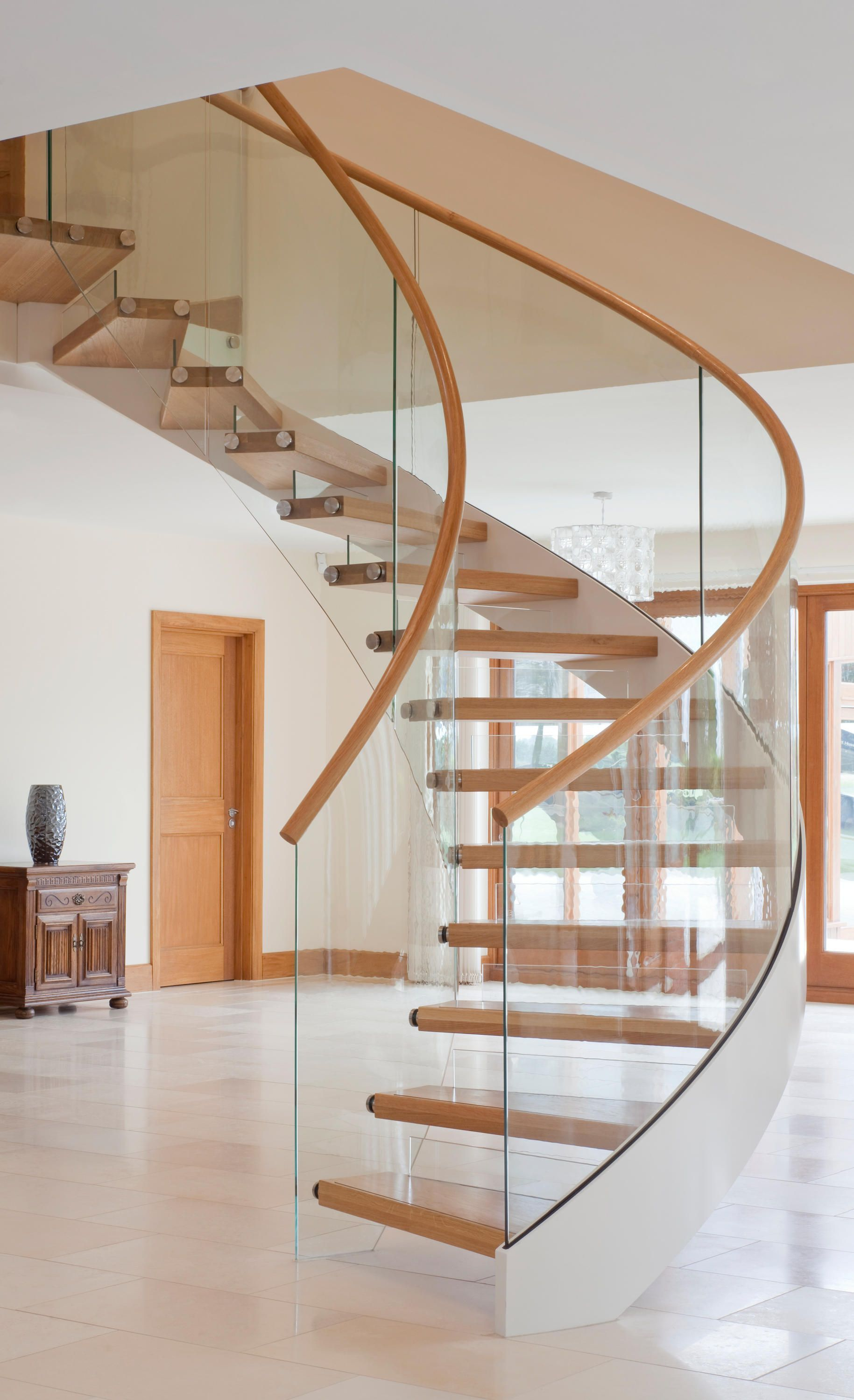 Best Floating Stairs Wood Twe 525 In 2020 Staircase Design 400 x 300