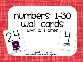 Numbers 1 30 Wall Cards With 10 Frames 10 Frame Cards 10 Things