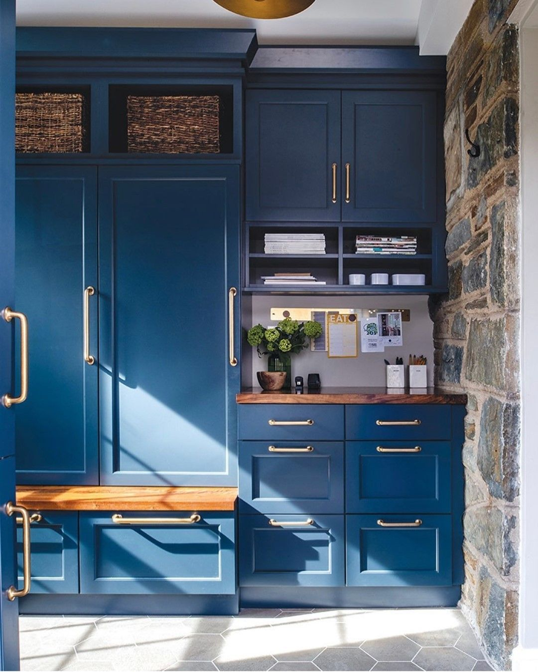 Lorna Gross On Instagram Mudrooms Can Be Beautiful Too This One Features A Moody Blue Palette Blended Mater In 2021 Painted Built Ins Wood Mode Built In Cabinets