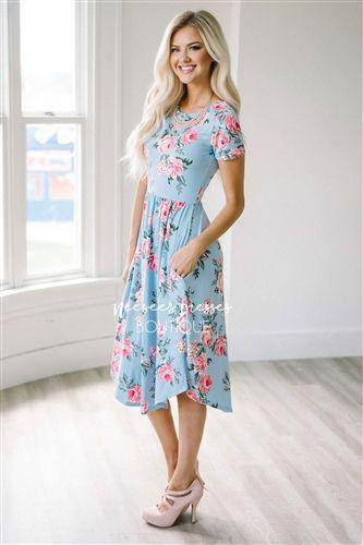 3aad5a91ec Baby Blue Pink Floral Pocket Dress, Modest Dress Bridesmaids Dress, best  modest boutique, cute modest clothes, modest dresses, best online modest  boutique, ...