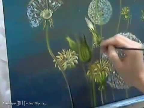 Живопись маслом: Одуванчики. (Oil painting: Dandelions ...