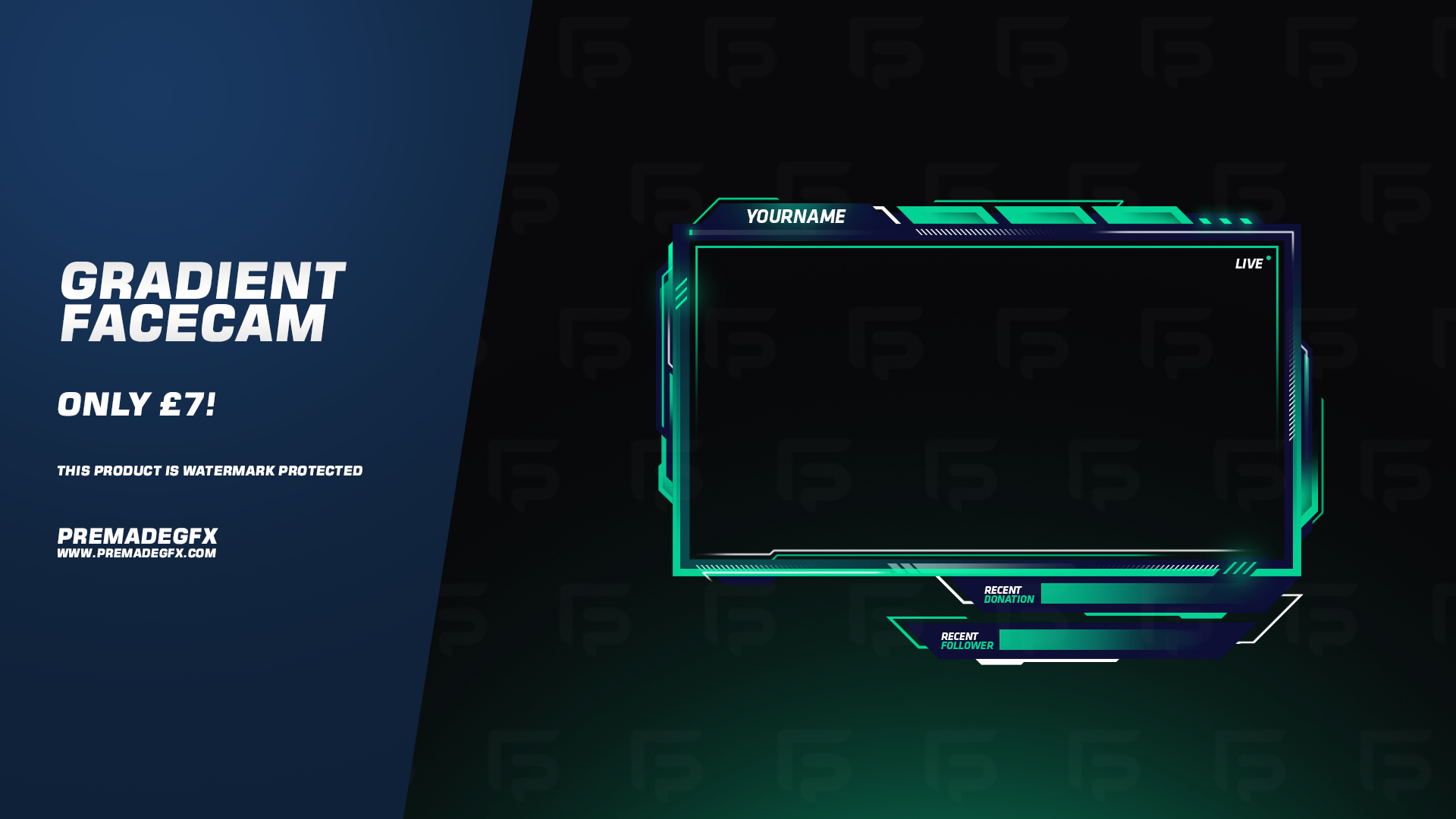 Gradient Facecam Overlay Overlays, Twitch, Youtube banners