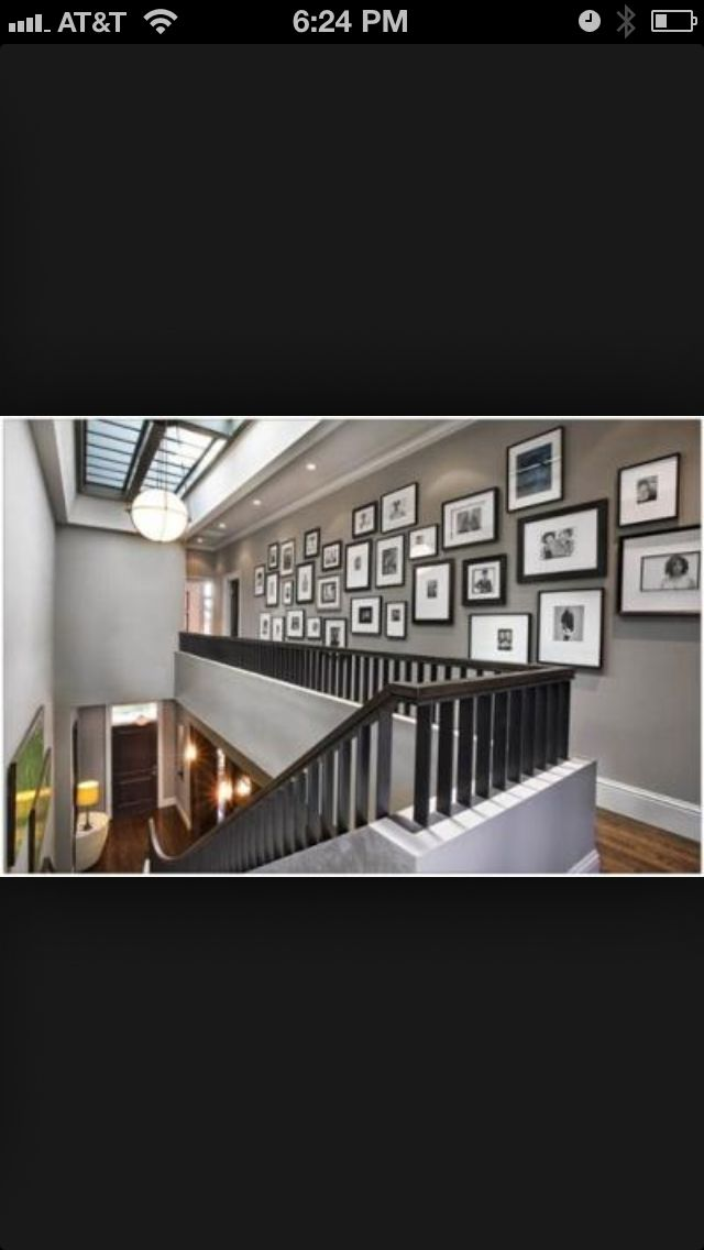 Gray wall with black and white photography