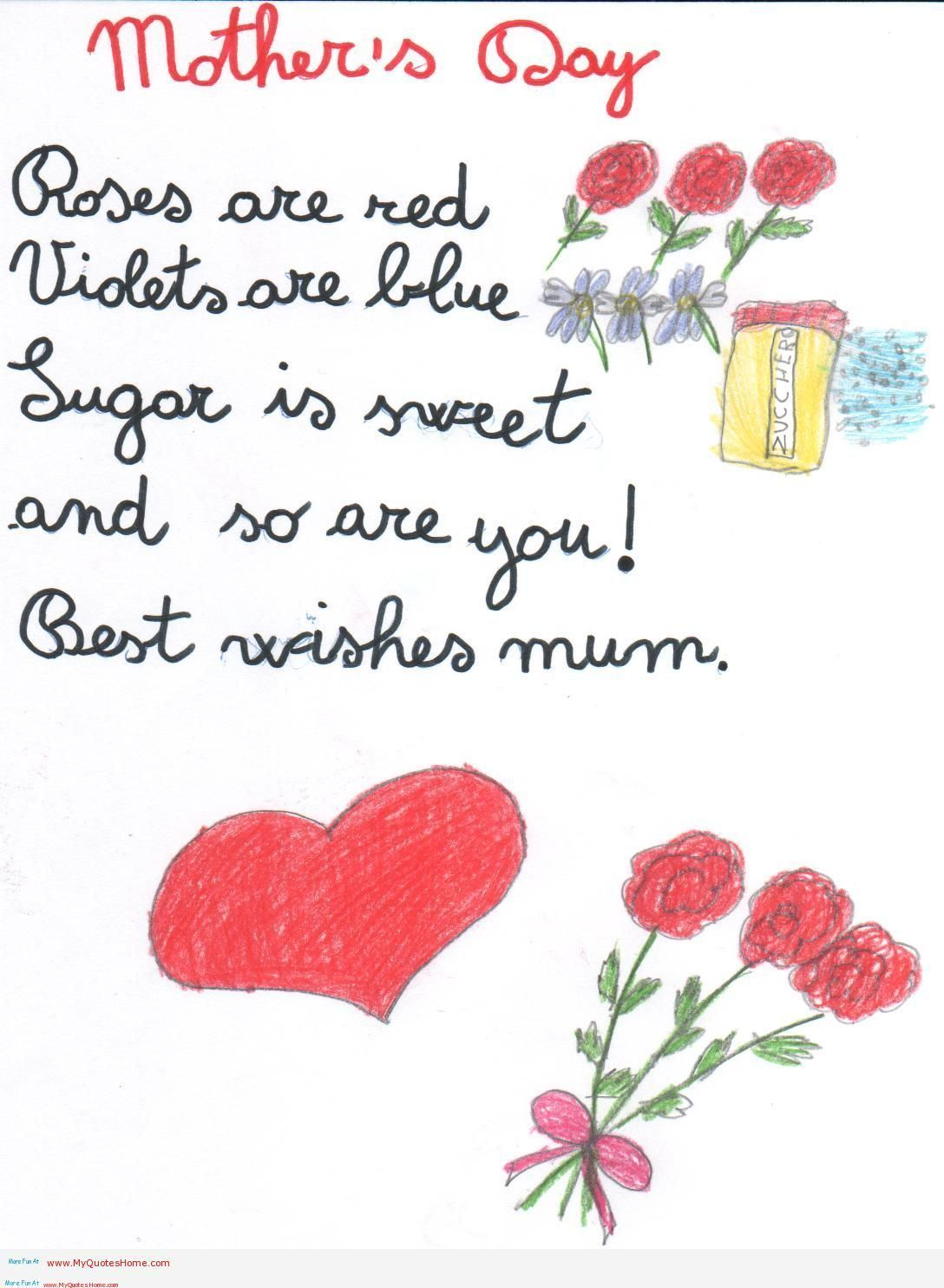 Kids Valentine Poems For Mom And Dad Mothers Day Card Poems This