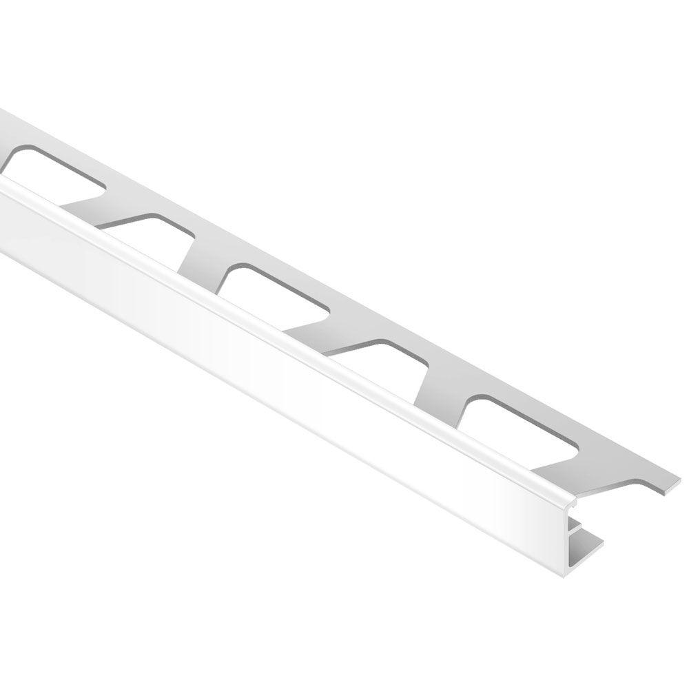 Schluter Jolly Bright White Aluminum 3 8 In X 8 Ft 2 1 2 In Metal Tile Edging Trim A100bw The Home Depot In 2020 Tile Edge Tile Edge Trim Metal Tile