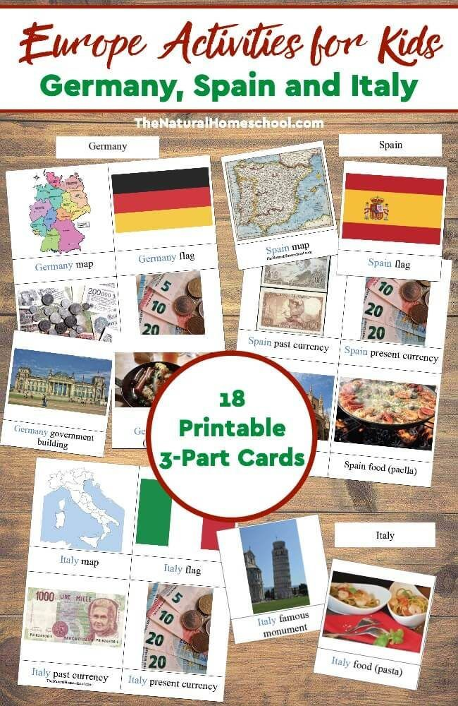 europe activities for kids germany spain and italy printable 3 part cards
